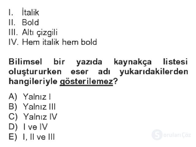 Türk Dili II Bahar Dönemi Final 13. Soru