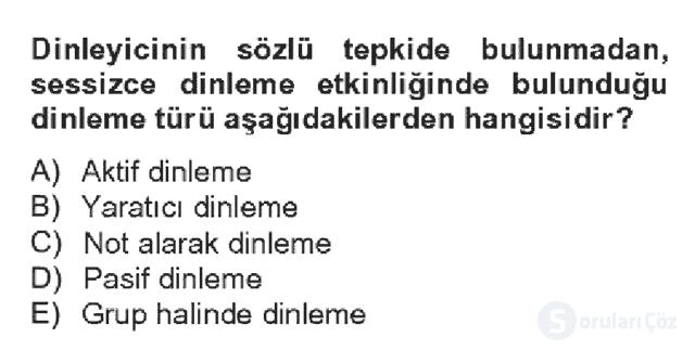 Türk Dili II Bahar Dönemi Final 15. Soru