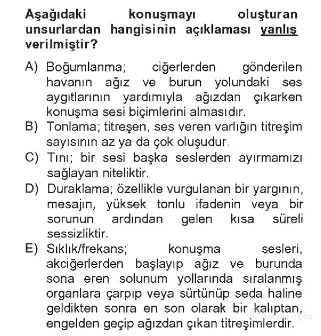 Türk Dili II Bahar Dönemi Final 19. Soru