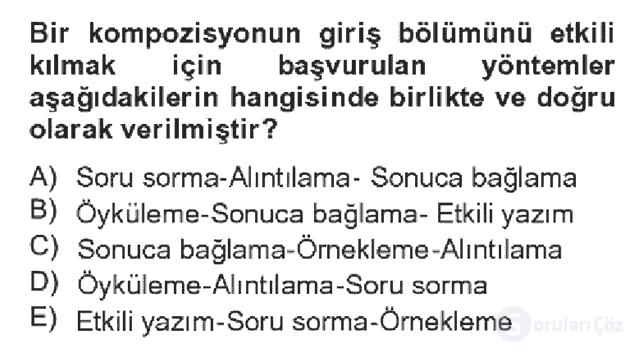 Türk Dili II Bahar Dönemi Final 2. Soru