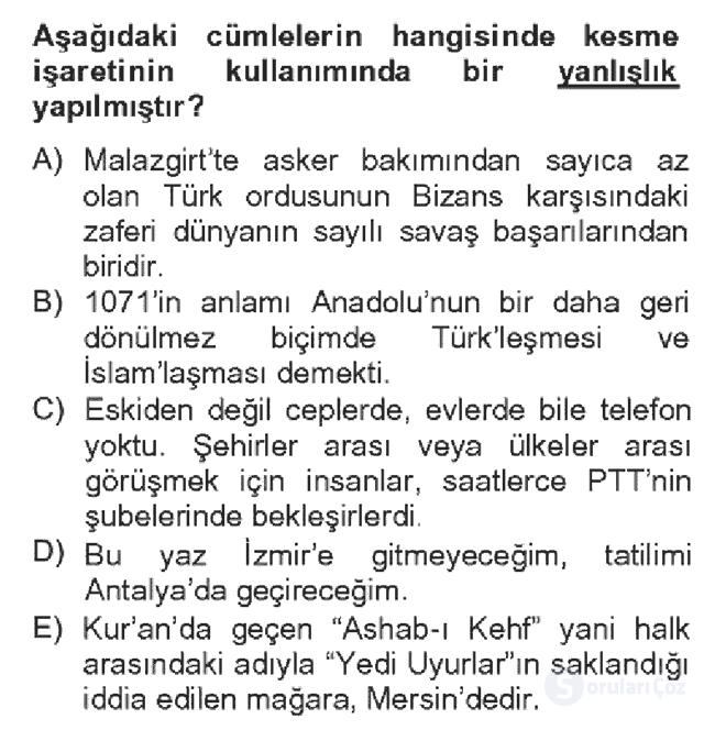 Türk Dili II Bahar Dönemi Final 3. Soru