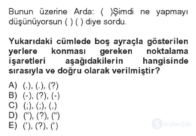 Türk Dili II Bahar Dönemi Final 4. Soru
