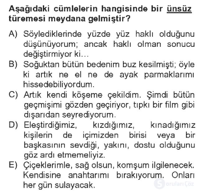Türk Dili II Bahar Dönemi Final 5. Soru