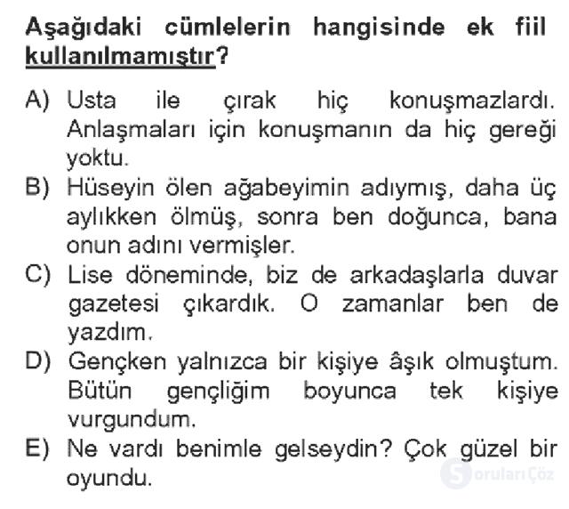 Türk Dili II Bahar Dönemi Final 6. Soru