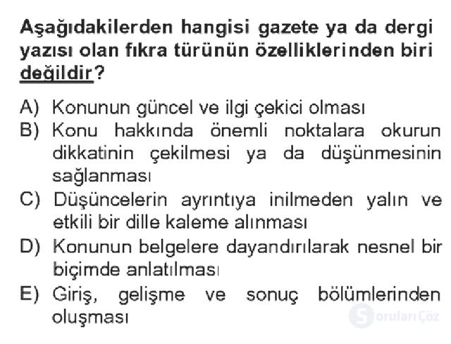 Türk Dili II Bahar Dönemi Final 8. Soru