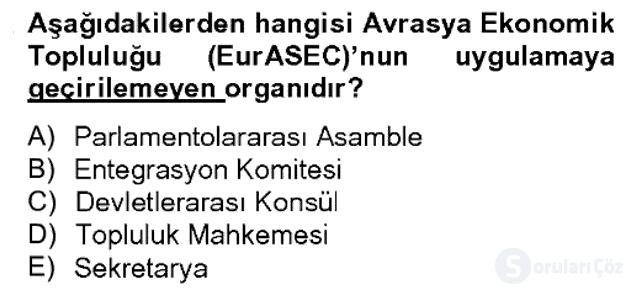 Uluslararası Örgütler Bahar Final 15. Soru