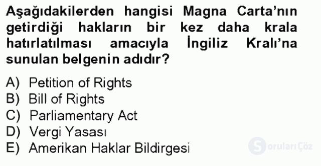 İnsan Hakları ve Kamu Özgürlükleri Tek Ders Sınavı 2. Soru