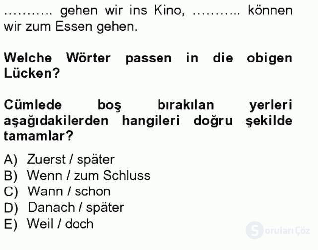 Almanca I Tek Ders Sınavı 11. Soru