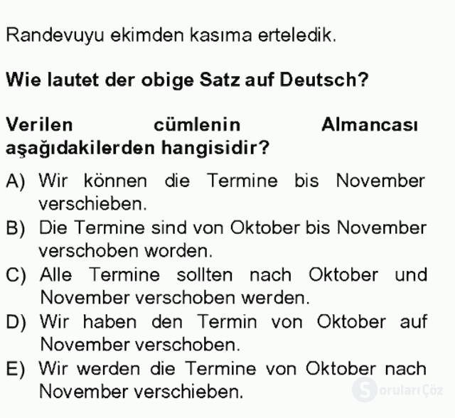Almanca I Tek Ders Sınavı 13. Soru