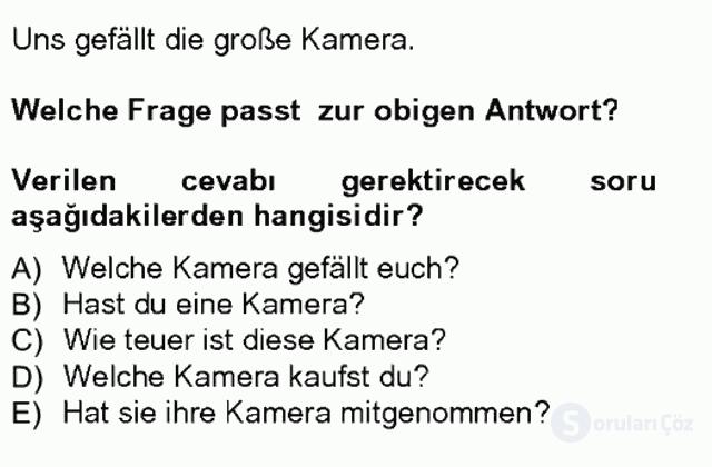 Almanca I Tek Ders Sınavı 15. Soru
