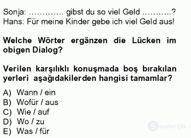 Almanca I Tek Ders Sınavı 16. Soru