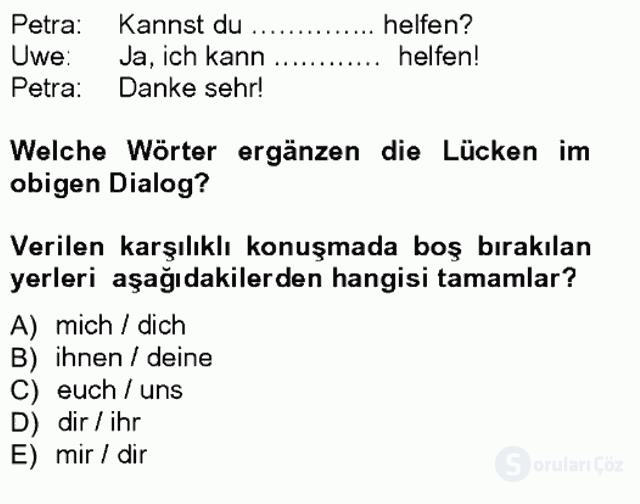Almanca I Tek Ders Sınavı 17. Soru
