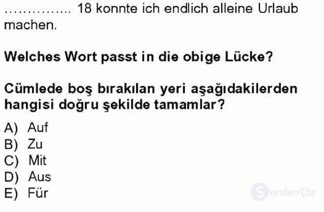 Almanca I Tek Ders Sınavı 18. Soru