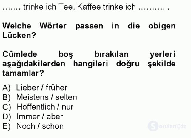 Almanca I Tek Ders Sınavı 20. Soru