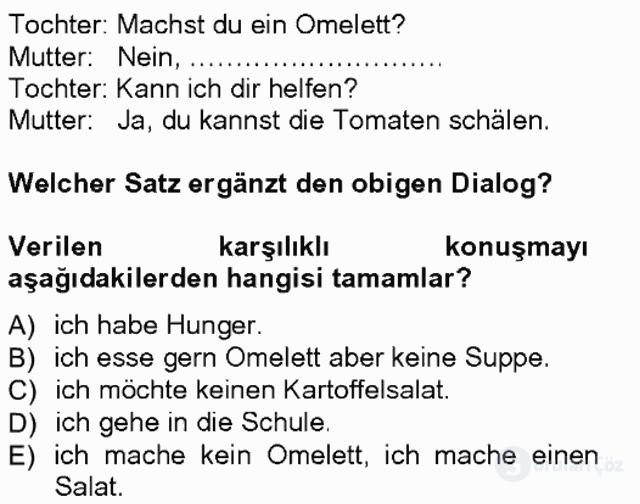 Almanca I Tek Ders Sınavı 4. Soru