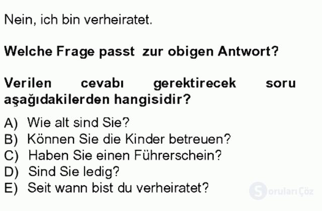 Almanca I Tek Ders Sınavı 5. Soru