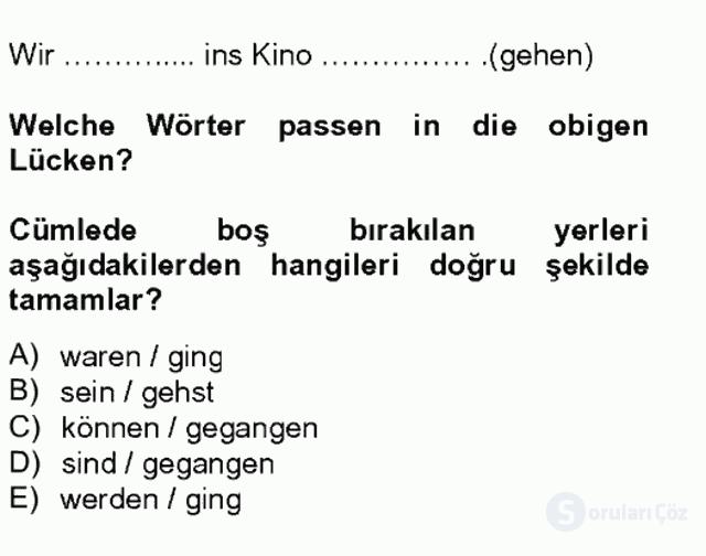 Almanca I Tek Ders Sınavı 6. Soru