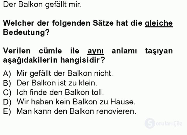 Almanca I Tek Ders Sınavı 8. Soru