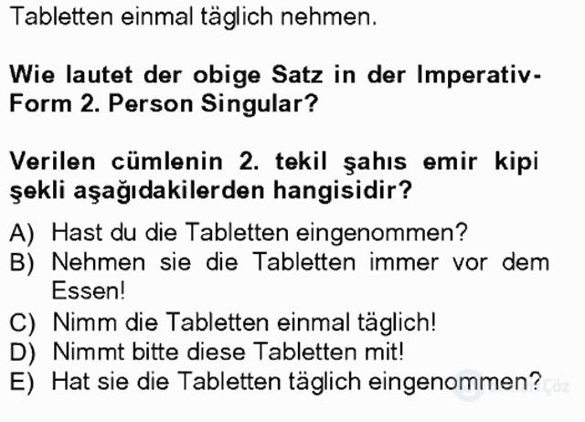 Almanca I Tek Ders Sınavı 9. Soru