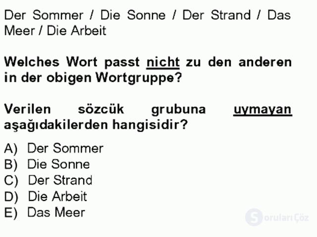 Turizm İçin Almanca I Tek Ders Sınavı 12. Soru