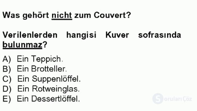 Turizm İçin Almanca I Tek Ders Sınavı 14. Soru