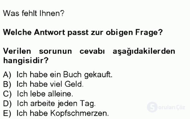 Turizm İçin Almanca I Tek Ders Sınavı 16. Soru