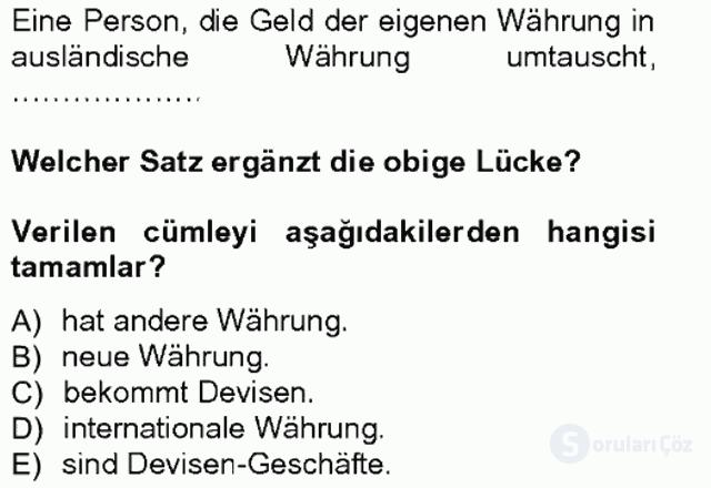 Turizm İçin Almanca I Tek Ders Sınavı 18. Soru
