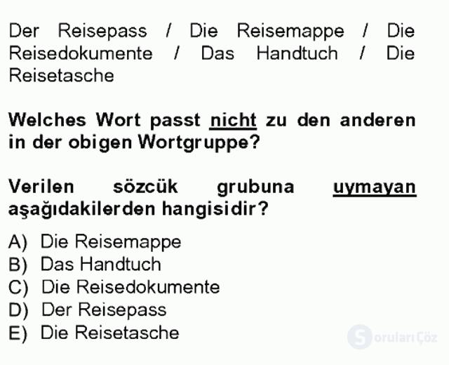 Turizm İçin Almanca I Tek Ders Sınavı 2. Soru