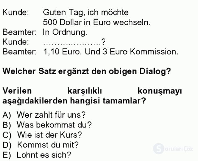 Turizm İçin Almanca I Tek Ders Sınavı 20. Soru