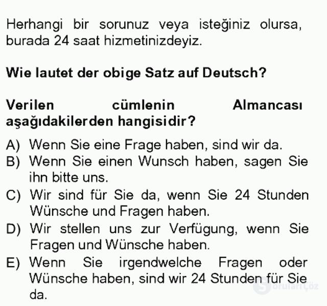 Turizm İçin Almanca I Tek Ders Sınavı 3. Soru