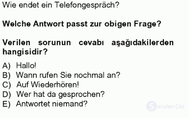 Turizm İçin Almanca I Tek Ders Sınavı 4. Soru