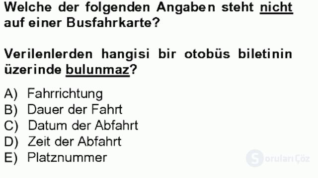 Turizm İçin Almanca I Tek Ders Sınavı 5. Soru