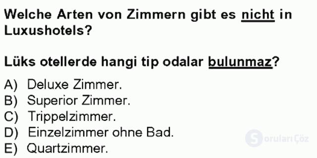 Turizm İçin Almanca I Tek Ders Sınavı 7. Soru