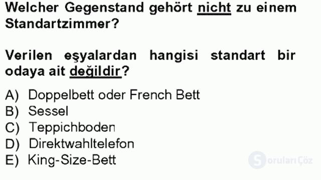 Turizm İçin Almanca I Tek Ders Sınavı 8. Soru