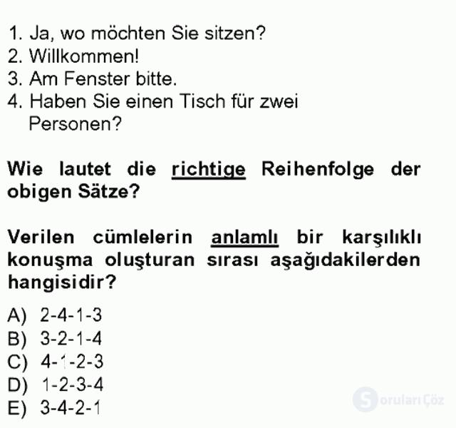 Turizm İçin Almanca I Tek Ders Sınavı 9. Soru