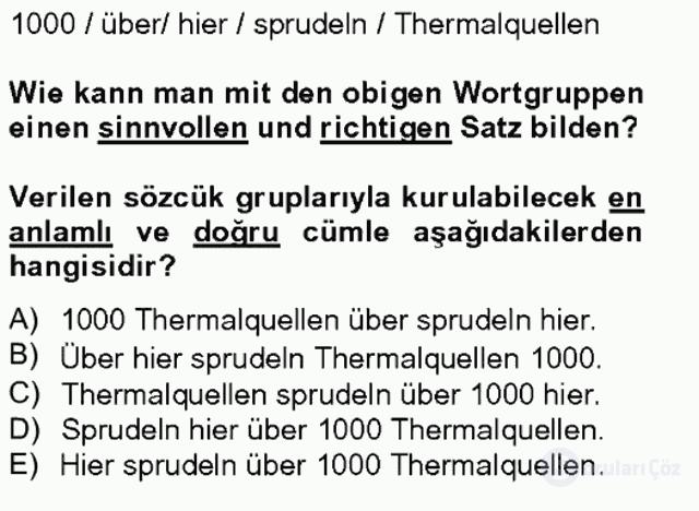 Turizm İçin Almanca II Tek Ders Sınavı 12. Soru