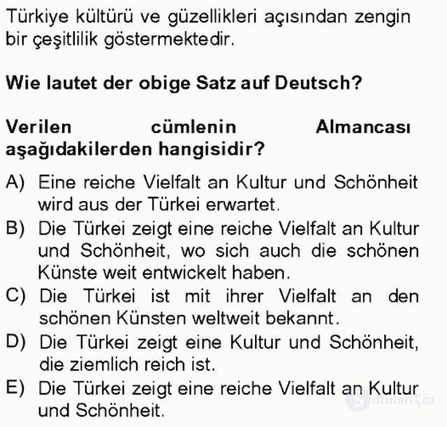 Turizm İçin Almanca II Tek Ders Sınavı 13. Soru