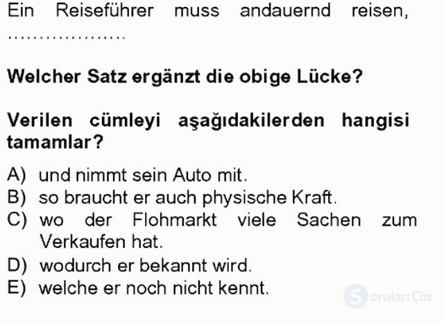 Turizm İçin Almanca II Tek Ders Sınavı 14. Soru