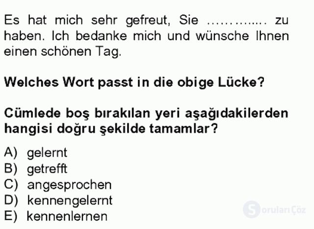 Turizm İçin Almanca II Tek Ders Sınavı 18. Soru