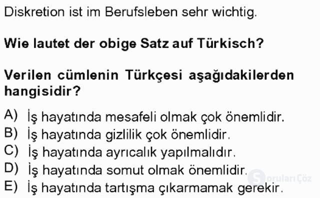 Turizm İçin Almanca II Tek Ders Sınavı 19. Soru