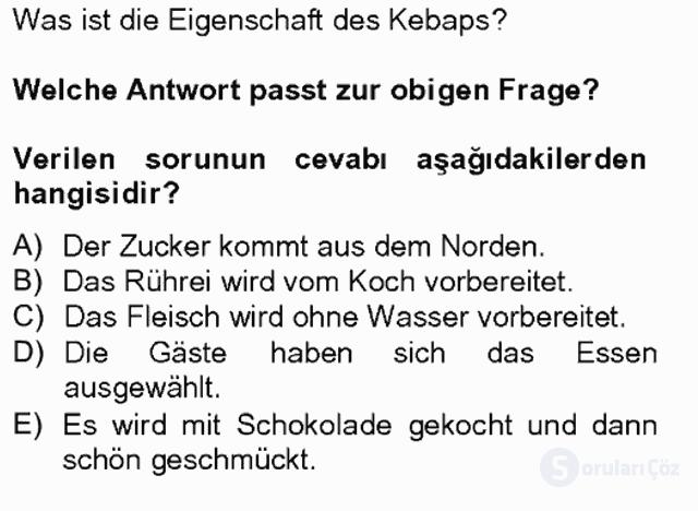 Turizm İçin Almanca II Tek Ders Sınavı 2. Soru