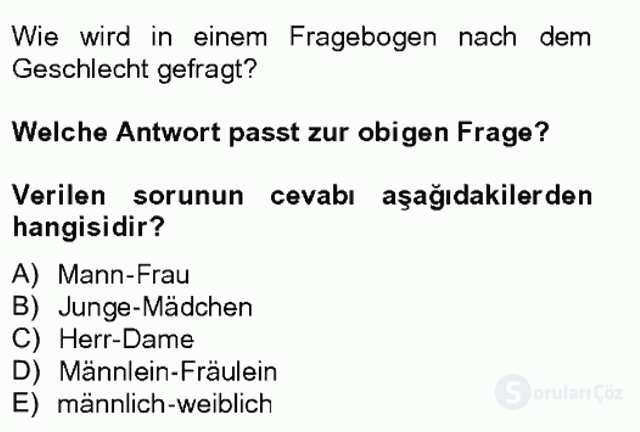 Turizm İçin Almanca II Tek Ders Sınavı 4. Soru