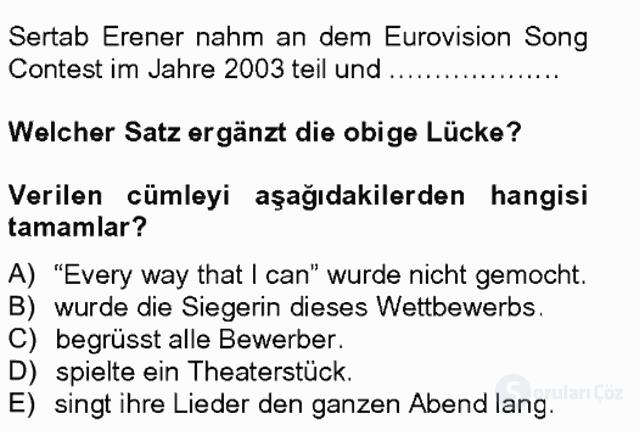 Turizm İçin Almanca II Tek Ders Sınavı 5. Soru