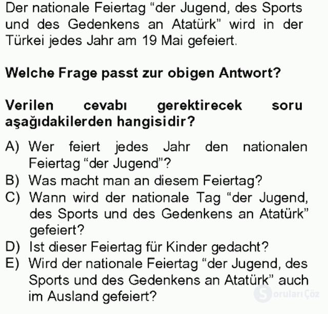 Turizm İçin Almanca II Tek Ders Sınavı 8. Soru