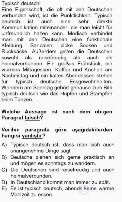 Almanca III Tek Ders Sınavı 10. Soru