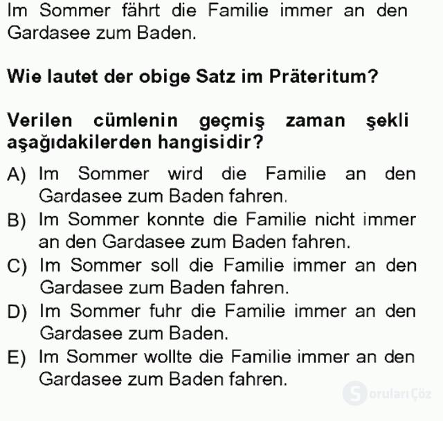 Almanca III Tek Ders Sınavı 11. Soru