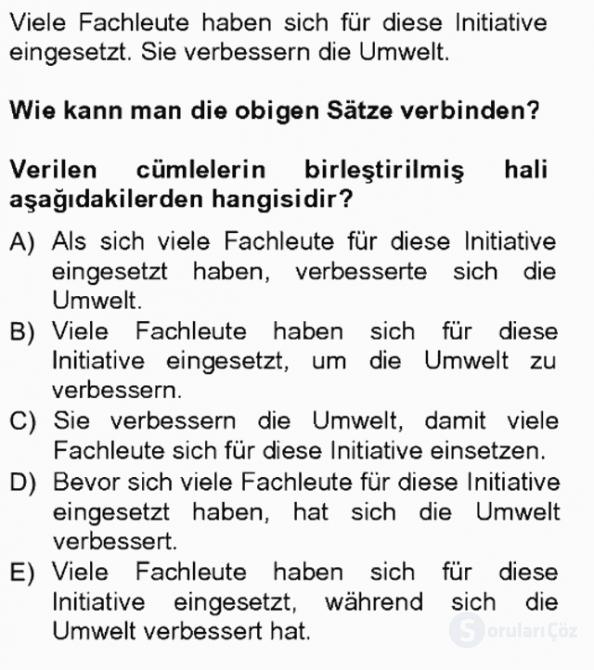 Almanca III Tek Ders Sınavı 12. Soru
