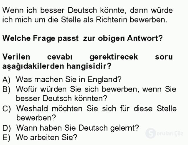 Almanca III Tek Ders Sınavı 14. Soru