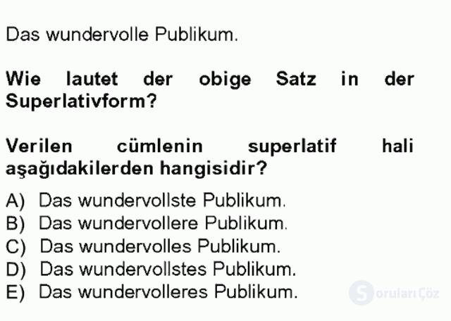 Almanca III Tek Ders Sınavı 15. Soru