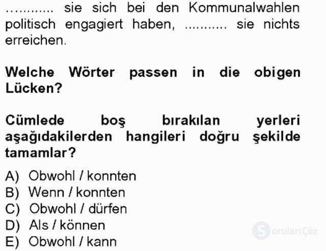 Almanca III Tek Ders Sınavı 17. Soru